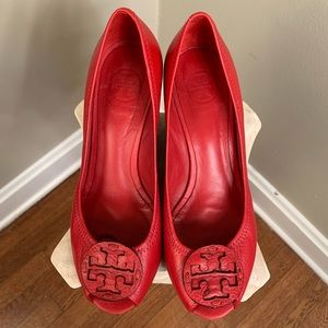 Tory Burch Red Leather Wedges